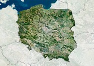 Poland, satellite image. North is at top. Natural colour satellite image showing Poland, with the surrounding territories shaded out. Poland is locate...