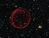 Supernova remnant. Hubble Space Telescope HST image of the supernova remnant 0509 SNR 0509, showing the sphere of gas. This is a Type 1a supernova, wh...