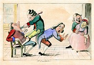 Dentistry caricature. 18th_century artwork with the Italian title ´Il Cavadenti´ The Toothpuller. At left, a dentist, bracing himself against a crouch...