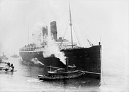 RMS Lusitania arriving in New York, USA, from Europe on the 6th March 1914. She is carrying players from the 1913_1914 World baseball tour. The Lusita...