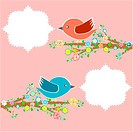 two birds in the trees with speech bubbles on tree branch