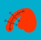 Alcohol and impotence. Conceptual image of the male genitalia sex organs, red and the chemical structure of alcohol ethanol. This represents the link ...