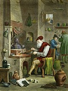 18th Century alchemist, historical artwork. 1750 engraving by Thomas Major of a painting by David Teniers II, entitled ´The Chymist´, showing an alche...