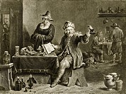 17th Century doctor. Engraving by Jean Tardieu of a painting by David Teniers II, entitled ´Le Medecin empyrique´ the empirical doctor, showing a man ...