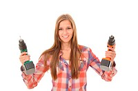 Woman with two self_drilling screws
