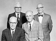 US physicists. Portrait of the US physicists Walker Bleakney, Walter Brattain, Vladimir Rojansky, and Everly Workman. Bleakney was one of inventors of...