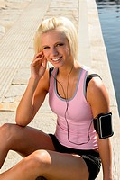 Sport woman smiling relax water listen music