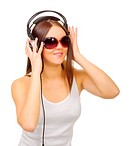 Young girl listen music isolated