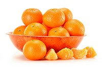 Composition with tangerines isolated on white
