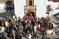 Parish Church of San Sebastian -15th century, Procession of San Diego, San Nicolas del Puerto, Seville-province, Spain
