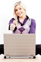 sitting young businesswoman with a notebook