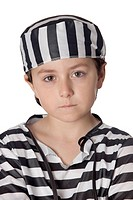 Sad child with prisoner costume