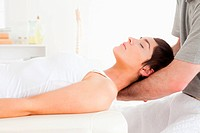 Woman relaxing during a massage