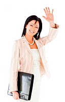 Businesswoman briefcase waving