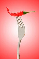 Red pepper on the fork