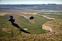 Aerial of Asbyrgi Canyon, Jokulsargljufur National Park, Iceland  Asbyrgi was most likely formed by two catastrophic glacial floods  The first 8-10,00...