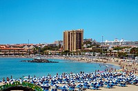 Playa de Los cristianos, beach, Tenerife, Canary Islands, Spain.