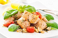 Chicken fillet with garlic and tomato