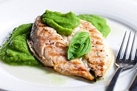 grilled mackerel with mashed pea and basil