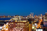 New York, NY, USA, Nighttime Overviews, Cityscapes from Top of the Standard Hotel Bar Rooftop Terrace, Meatpacking DIstrict, Manhattan ,