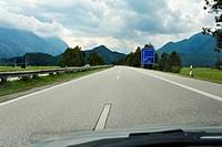 An almost empty motorway near Eschenlohe, Bavaria, Germany, Europe