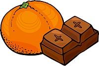 orange fruit and chocolate block