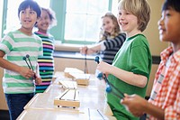 Group of elementary students with xylophones.