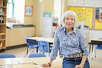Elementary school teacher at front of class.
