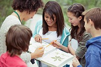 Students and teacher identifying plants