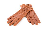 brown female leather gloves