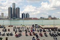 A meeting of a provincial chapter of a recreational motorcycle club at Riverfront Festival Plaza across Detroit, Michigan. Windsor, Ontario, Canada