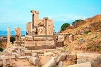 Ruins of statues in ancient city of Ephesus