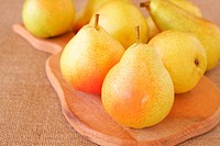 Bunch of fresh yellow pears