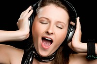 Singing Headphones Woman