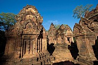 Hindu temples in the inner enclosure of Banteay Srei in red sandstone, 10th century Khmer architecture at Angkor Wat _ Siem Reap, Cambodia