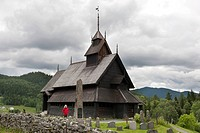 Historical wooden church, stave church of Eidsborg, Telemark, Norway, Scandinavia, Northern Europe, Europe
