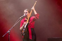 The British singer Anna Calvi performing live in the concert hall of the KKL at the Blue Balls Festival, Lucerne, Switzerland, Europe