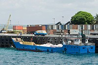 Container terminal in the port of Stone Town, Zanzibar, Tanzania, Africa