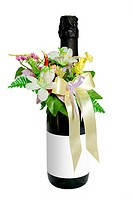 Wedding wine with flower decoration on white background.