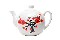 Teapot in asian style with flowers