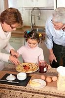 Family preparing pancakes