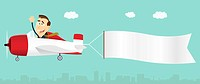 Illustration of a cartoon businessman piloting an airplane and pulling a banner for your text message