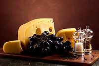 Cheeses with grapes
