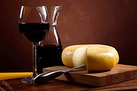 Still_life with cheese and wine