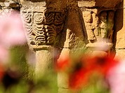 France, Dordogne, Fajoles, romanesque church, close-up of the carved capitals