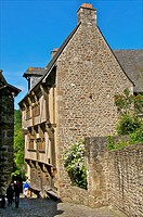 Governor's house, 15th c mansion, in old cobbled street, Old Town, Dinan, Cotes d'Armor , Brittany, France