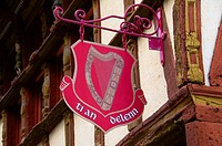 Keratry Mansion house, 16th c , Detail of shop sign, Old Town, Dinan, Brittany, Cotes d´Armor, France