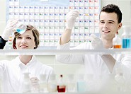 young students couple making test in bright labaratory