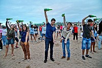Cider Meeting at Poniente Beach, Guinness Record, Gijón, Asturias, Spain