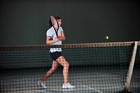 young girl exercise tennis sport indoor
